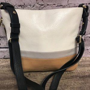 Fossil leather crossbody handbag white brown gray